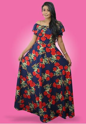Picture of Off Shoulder Frilled Floral Maxi Dress