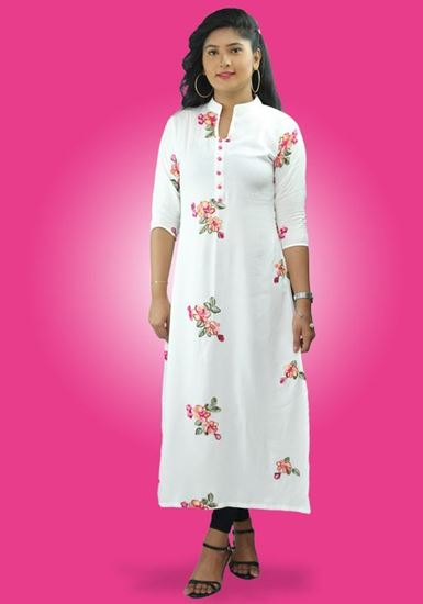 Picture of High Necked Long White Top with Embroidery Flowers