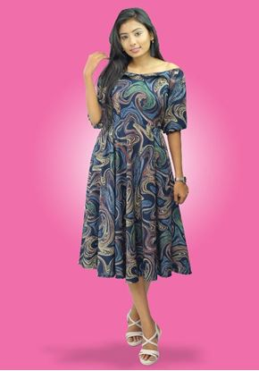 Picture of Off Shoulder Short Frock with Puff Sleeves