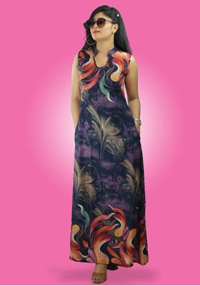 Picture of Printed Bordered Sleeveless A-line Maxi Dress with Pockets