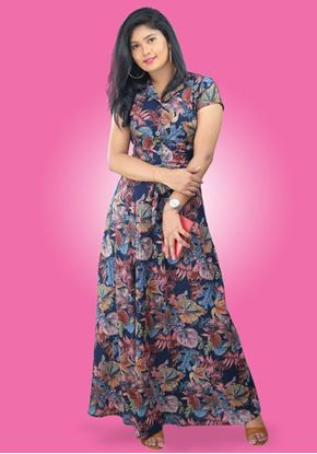 Picture of Leave Designed A-line Maxi Dress with Belt