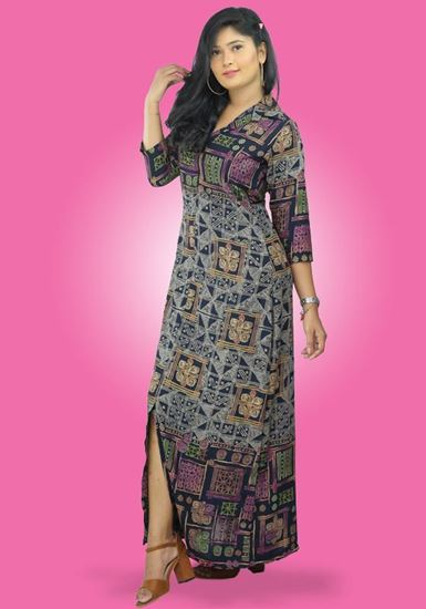Picture of Printed Border Designed A-line Maxi dress
