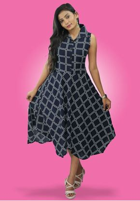 Picture of Check designed Collared short frock