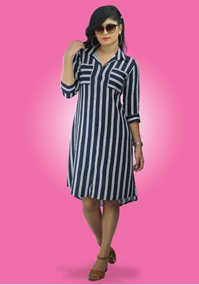 Picture of Striped Shirt Dress with Pockets
