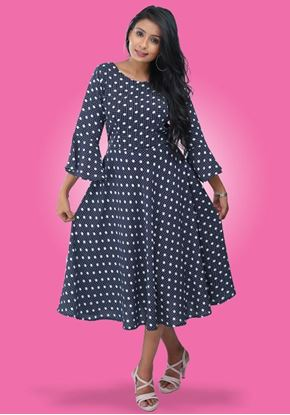 Picture of Polka Designed Round Necked Short Frock  with Bell Sleeves
