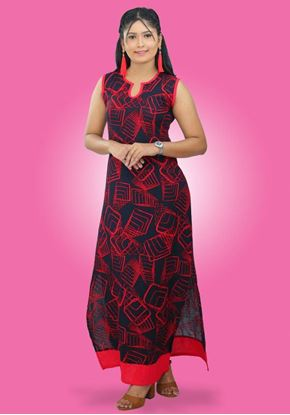 Picture of Side Open Printed Designed Sleeveless Maxi Dress
