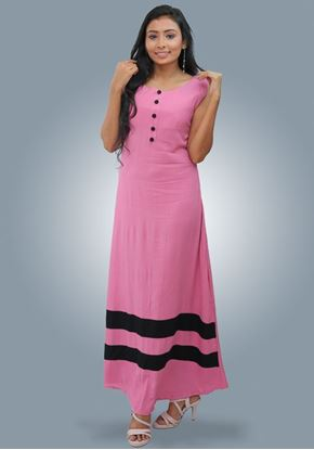 Picture of Two Color Sleeveless A-line Maxi Dress