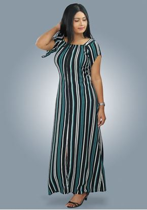 Picture of Striped Designed Off-shoulder A-line Maxi Dress