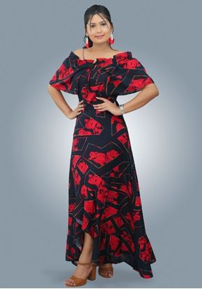Picture of Front Knotted Off Shoulder Cocktail Maxi Dress