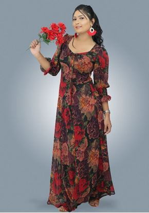 Picture of Floral Designed Georgette Long Puff Sleeves Maxi Dress