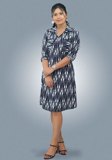 Picture of Printed Designed Shirt Dress with Pockets