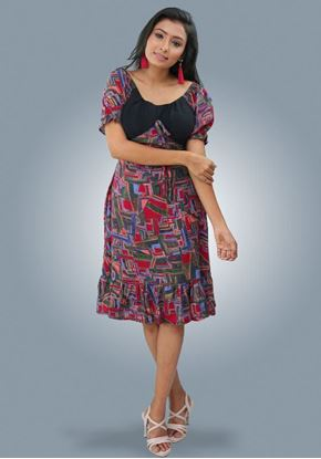 Picture of Off Shoulder Frilled Hem Short Frock with Puff Sleeves