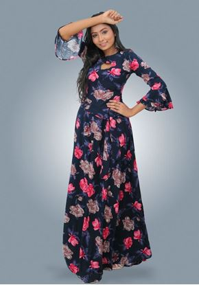 Picture of Double Frilled Bell Sleeves Floral Maxi Dress