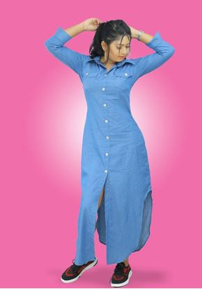 Picture of Long Sleeves Chambray Maxi Dress with Buttons