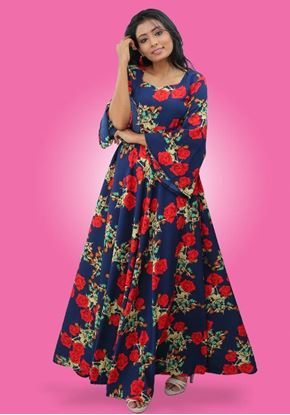 Picture of Floral Designed Flared Maxi Dress with Long Bell Sleeves