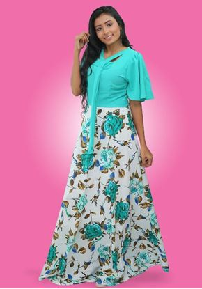 Picture of Short Bell Sleeves Floral Cross Over Maxi Dress