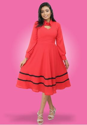 Picture of Long Puff Sleeves Heart Neck Designed Collared Short Dress