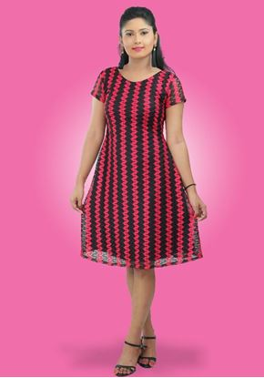 Picture of Black & Red Mixed Short Sleeves Short Dress with Round Neck