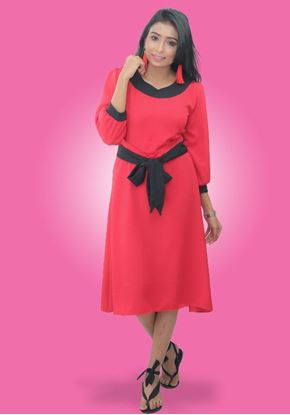 Picture of Black Color Mixed Round Necked Short Frock with Bow