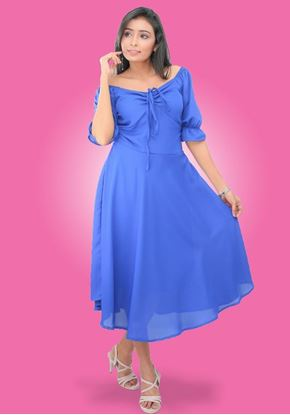 Picture of Front Knotted Short Flared  Party Dress with Puff Sleeves