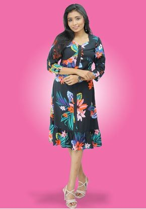 Picture of Sweet Heart Necked Thick Georgette Midi Dress with Frilled Hem