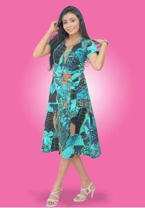 Picture of V-Necked Printed Linen Short Dress with Belt