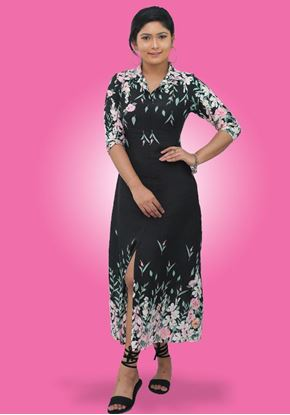 Picture of Collared Long Sleeves A-line Maxi Dress with Printed Border