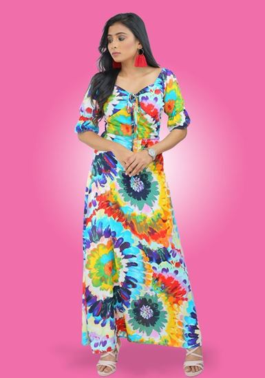 Picture of Printed Designed Front Knotted Flared Maxi Dress with Puff Sleeves