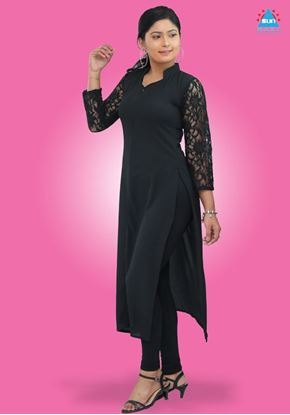 Picture of Laced mixed long kurtha top