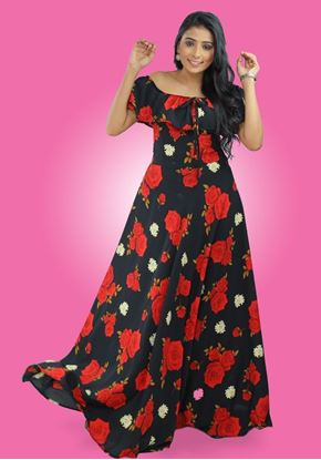 Picture of Off Shoulder Frilled Floral Maxi Dress
