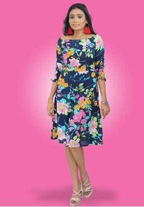 Picture of Off Shoulder Floral Designed Short Frock with Smoked Puff Sleeves