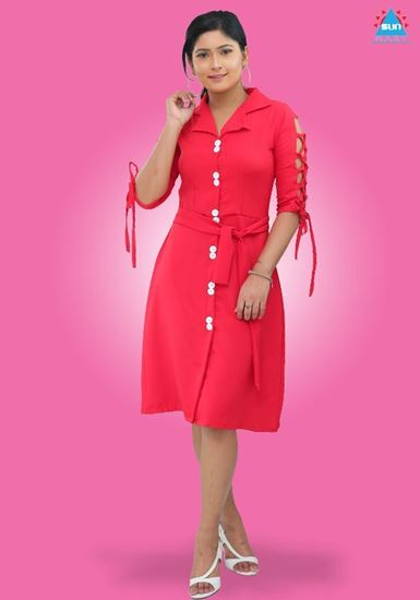 Picture of Sleeves Designed Collared Short Dress