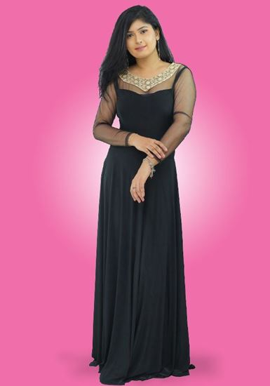 Picture of Neck Designed Maxi Party Dress with Long Sleeves