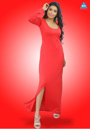 Picture of Sleeves Designed Round Necked Maxi Party Frock with Side Open