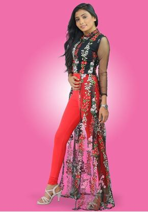 Picture of Embroidery Lace Designed High Necked Long Kurtha Top with Legging