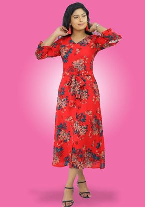 Picture of V Necked Long Sleeves Three Quarter Frock with Floral Design