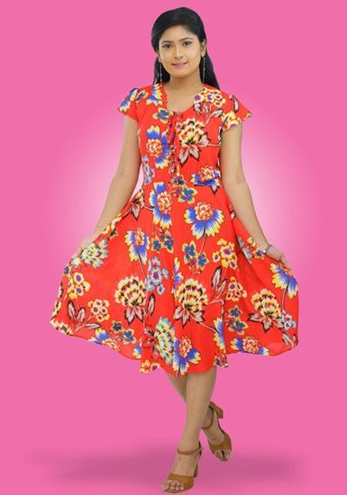 Picture of Floral Designed Flared Short Dress with Short Bell Sleeves