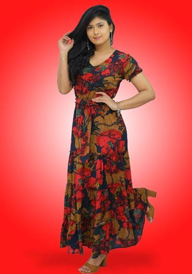 Picture of V-necked Maxi Dress with Frilled Ruffle Skirt