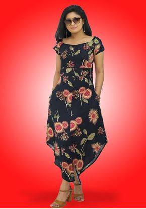 Picture of Off shoulder Long frock with Asymmetrical Hem