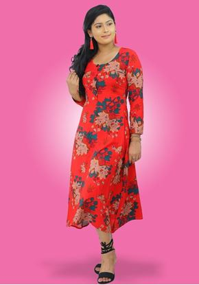 Picture of Round Necked Long Sleeves floral Three Quarter Frock