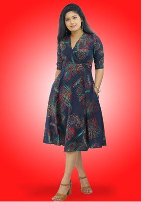 Picture of Cross Over Printed Designed Short Dress