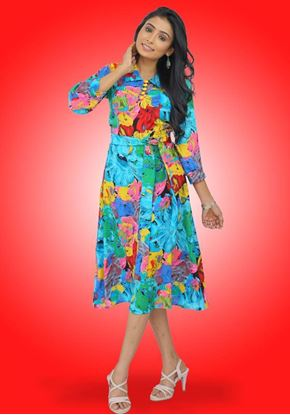 Picture of Collared Three Quarter Sleeves Short Dress with Buttons