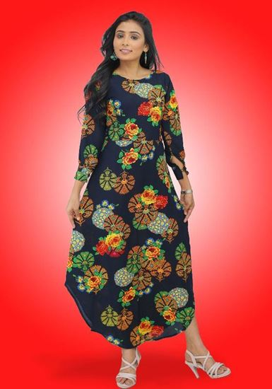 Picture of Boat Necked Maxi Shirt Dress with Long sleeves