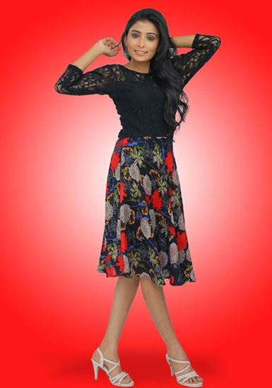 Picture of Black Lace Mixed Short Frock with Three Quarter Sleeves