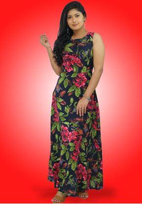 Picture of Backside Designed Round Necked Sleeveless Maxi Dress
