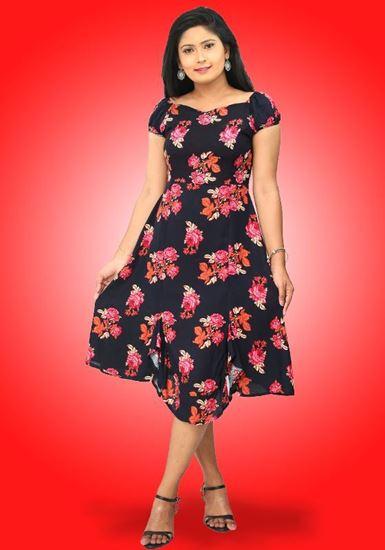 Picture of Off Shoulder Short Skirt Designed Floral Dress