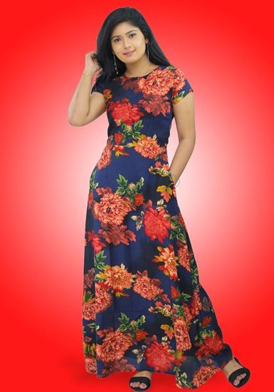 Picture of Short Sleeves Maxi Floral Dress with Round Necked