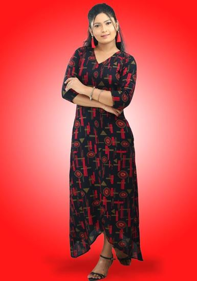 Picture of V-Necked High Low  Maxi Dress with Three Quarter Sleeves