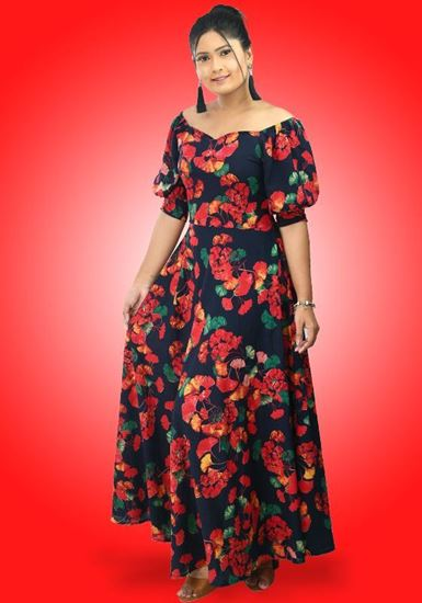 Picture of Off Shoulder Sweet Heart Necked Flared Maxi Dress with Puff Sleeves