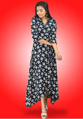 Picture of Collared High Low Maxi Dress with Belt